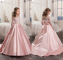 Wholesale Little Pink Tutu Dress - Peach Flower Girl Dresses With Long Sleeves Tutu For Girls 2017 Cute Formal Wear First Communion Dress Little Kids Child Pageant Party Gowns