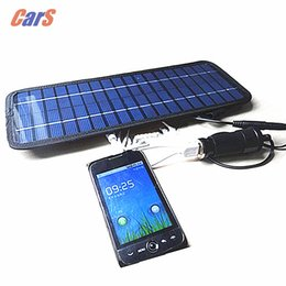 Wholesale 12v Solar Panel Battery Charger - Wholesale- Blue 4.5W 12V Solar Car Charger Car Battery Power Charger Panel Charger Cigarette Lighter Plug for Car Boat Motorcycle Vehicle