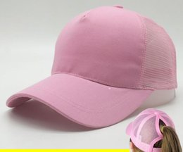 Wholesale Pink Pony Tail - Sun hat has an extra hole for the pony tail Woman Baseball Caps Women ponytail Hip Hop hat Breathable Summer Mesh Cap Polo Visor Cap
