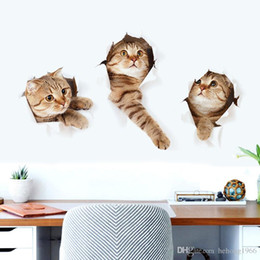 Wholesale Decorating Decals Stickers - 3D Wall Decals Cartoon Animal Vivid Cat Simulation Decorated Sticker For Kid Room Mural Art Decal Home Decor Stylish 2 5gw F R