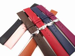 correa de reloj de 14mm Rebajas Al por mayor-Venta al por mayor 10PCS / lot de alta calidad 12 mm 14 mm 16 mm 18 mm 20 mm 22 mm de cuero genuino (cuero dividido) Reloj banda correa de reloj suave