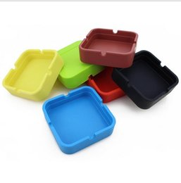Wholesale Cool Home Gadgets - Square Circle Style Silicone Ashtray for Home Novelty Crafts Portable Ashtrays for Cigarettes Cool Gadgets DHL