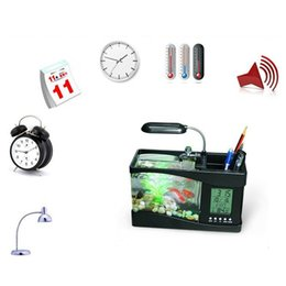 Wholesale Mini Aquarium Desktop Fish Tank - Mini USB LCD Desktop Lamp Light Fish Tank Aquarium Multi-fonction Aquarium Light LED Clock White Black Valentine Easer days gift