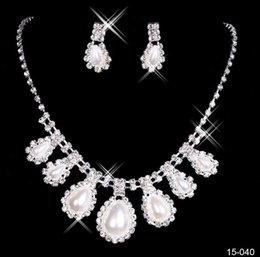 Wholesale Celtic Earrings For Women - 2016 Crystal Bridal Jewelry Set silver plated necklace diamond earrings Wedding jewelry sets for bride Bridesmaids women Bridal Accessories