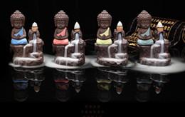 Wholesale Wholesale Ash Holders - The Little Monk Incense Burner Backflow Tower Cones Sticks Holder Ceramic Porcelain Buddha Monk Ash Catcher