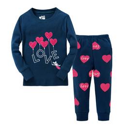 Wholesale Girl Sleep Set - Children Girls Heart Cotton Sleep Pajamas Sets Long Sleeve Love Pattern Printing 2-7T Children Kids Clothing