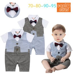 Wholesale Fashion Little Boy - 2017 Little Boys Plaid Bow Rompers Kids Boy Fashion Gentleman Jumpsuits Babies Summer Casual Romper bebe clothing