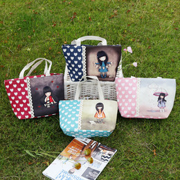 Wholesale Lace Paper Bags - New Love Girl Bag Fresh Lace Canvas Cloth Handbag The Little Girl With Umbrella Paper-Cut Read Book Reflect Small Size F20171769