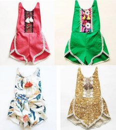 Wholesale Bodysuit New Baby - kids clothing floral bodysuit romper 2017 New Summer Printed Tassel summer baby onesie Cute Lace Children Jumpsuit 7667