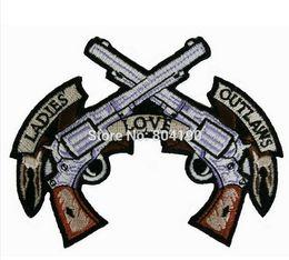 "Remendos ilegais on-line-4 ""Senhoras Amor Outlaws Rockers Racer Chopper Outlaw MC Motociclista Motociclista Colete Remendo Bordado SEW ON IRON ON"