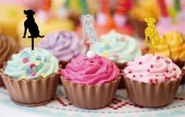 Bolos de casamento do cão on-line-Adorável cão em forma de decoração de sobremesa inserido cartão Cup cake acrílico inserido cartão criativo favor de festa de casamento
