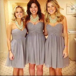 Wholesale Discount Chiffon Dresses - A Line Discount Short Grey Bridesmaid Dresses Sweetheart Chiffon Sleeveless Pretty Simple Style Bridesmaids Dresses Cheap