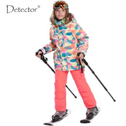 Wholesale Snow Suits For Kids - Wholesale- 2015FREE SHIPPING skiing jacket+pant snow suit fur lining -20-30 DEGREE ski suit Detector kids winter clothing set for boys