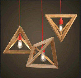 Wholesale triangle pendant lighting - Wholesale-Fashion Design Contemporary and Contracted Shuttle Wooden Triangle Droplight Pendant Lamp