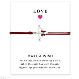 Wholesale Bow Arrow Bracelets - (10 pcs lot)Silver Tone Bow And Arrow Charm Bracelets & Bangles For Women Girls Adjustable Friendship Jewelry With Card
