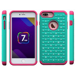 Wholesale I Phone Back Covers - Rhinestone Case phone case for I phone 7 7plus 6 6 plus Samsung edge 7 PC+Silcone 3 in 1 shockproof back cover shell