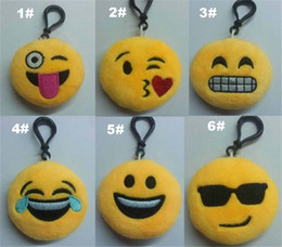 Wholesale Collectible Dolls Wholesale - Emoji Plush Pendant Key Chains Kids Toys PPCotton Plush Stuff Dolls KeyChain Emoji Smiley Small Mobile Bag 6cm Christmas Gifts