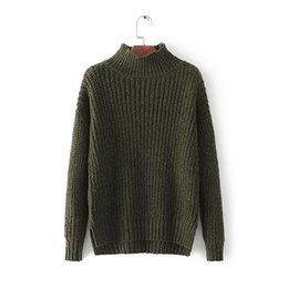Wholesale Autumn Threads - Women's Sweater 2017 Autumn and Winter Gold Thread Pure Color Long Sleeve Collar Woman Sweaters and Pullovers