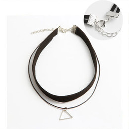 Wholesale Jewelry Hanging Rope - Silver Triangle Clavicle Necklace New Fashion Jewelry For Women Clothing accessories Fashion hanging chain Craft necklace free shipping