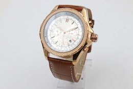 Wholesale Discount Shipping Cases - Discount Sale Brand Automatic Watches For Men Analog White Face Cart Motors Watch Rose Gold Case With Calendar Brown Leather free shipping