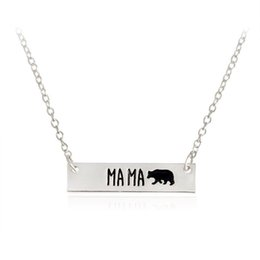 Wholesale Handmade Bear - New Fashion Cute animal bears necklace jewelry Lettering Mama Bear Handmade bar Necklace mother love free shipping