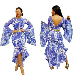 Wholesale Mid Scoop - 2018 Ethnic Style Pattern Print Long Dresses Long Sleeve O Neck Sashes Casual Women Maxi Dress Vestidos