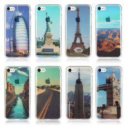Wholesale Sunrise Case - For Iphone 7 7P 6 6S 4.7 Plus 5.5 Eiffel Tower River Sky Soft TPU IMD Case Sunrise Modern City Mountain Silicone Village Scenery Bridge Skin