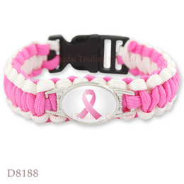 Wholesale Outdoor Camping Plates - Pink Breast Cancer Fighter Awareness Ribbon Paracord Bracelet Survival Friendship Outdoor Camping Sports Jewelry Custom