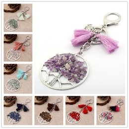Wholesale Amethyst Gemstone Pendant - Life of Trees Tassel Keychain Pendant Tree of Life Crystal Gemstone Chakra Jewelry Key Chain Ring Keyring Keyfob Key Holder B127S
