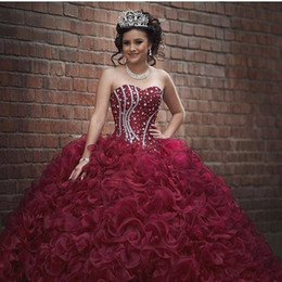Wholesale Dress Strapless Corset Back - Burgundy Plus Size Ball Gown Sweet 16 Quinceanera Dresses Strapless Crystals Ruffles Organza Corset 2017 Girls Debutantes Masquerade Gowns