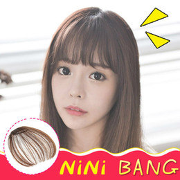 Wholesale Clip Bangs Black Hair - Brand New women's Clip In mini hair bangs Front bangs synthetic hair pieces four colors 1pc lot drop shipping