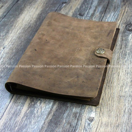 Wholesale Leather A5 Notebook - Wholesale- NEW Vintage Diaries A5 size Journals notebook genuine leather brown