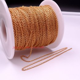 Wholesale Thin Gold Jewelry - factory price wholesale 50meter   ro Lot Gold Plated Stainless steel jewelry finding Thin 1.8mm Smooth Oval Link chain DIY Necklace Bracelet