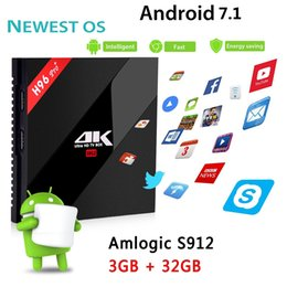 Wholesale Dual Core Tv - H96 PRO+ Gigabit Ethernet Android 7.1 Smart TV BOX 3G 32G Amlogic S912 Octa Core Dual Wifi 2.4G&5.8G BT4.0