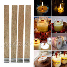 Wholesale Making Bowl - 10Pcs 12.5mm x 150mm Candle Wood Wick with Sustainer Tab Candle Making Supply