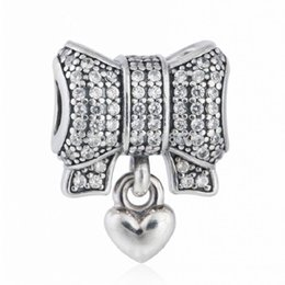 Wholesale 925 Sterling Silver Bracelet Bow - 2017 Summer New Christmas Gift 925 Sterling Silver Pave CZ Bow Charms with Heart For Women Bracelets Fine Jewelry DIY Accessories HB443