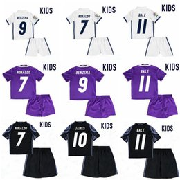 Wholesale Youth Soccer Uniform Jerseys - 2017 Real Madrid RONALDO kids soccer jerseys Uniforms sets youth boys child kits 16 17 Home White Purple JAMES BALE ISCO football shirts