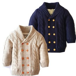 Wholesale Sleeveless Sweater Coat - Baby Sweaters Gentleman Cardigan Jackets Children Fleece Lining Coats Kids Boys Girls Outwear Fashion Winter Thicken Clothing