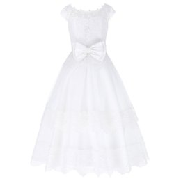Wholesale Organza Knots - 2017 Cap Sleeve Elegant Big Bow-Knot Flower Girl Dresses Ball Gown Lace Applique Princess Brides Girl's Pageant Dress 1~12Years