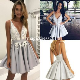 Wholesale Dresses For Cocktail - Gorgeous Silver Arabic Homecoming Dresses with White Lace A-Line Deep V-Neck Short Graduation Gowns Sexy Chic Cocktail Dress for Party Wear