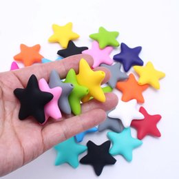 Wholesale Shaped Silicone Bracelets - Loose 20PCS Lot 100% BPA Free Food-Grade DIY Silicone Chew Beads 38MM Soft Star Shape Silicone Teething Beads Baby Necklace&Bracelet Made