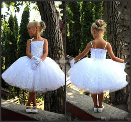 Wholesale Toddler Corset - New 2017 White Toddler Flower Girl Dresses For Vintage Wedding Knee Length Beaded Corset Back White Lace Baby Kids First Communion Dresses