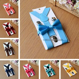 Wholesale Suspenders For Girls - 2017 Kids children boys baby Suspenders Bow Tie Set for 1-10T Braces Elastic Y-back Girls Suspenders accessories christmas gift 26colors