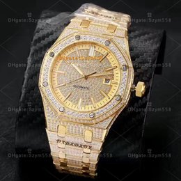 Wholesale Divers Men Watches - 15400 Full Diamond Man Watch High Quality Luxury Man Watch Automatic AAA Rose Gold Diamond Watches Waterproof Watch 41mm 316 Stainless steel