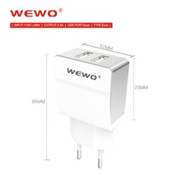 Wholesale Battery Direct - WEWO Dual Wall Chargers 2.4A output Euro EU plug Portable Battery Charger For Phone Powerbank with retail package