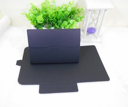 Wholesale invitation paper box - Wholesale- 50pcs lot 15.5x10.7x0.9cm Black Paper Box for Postcard Photo Albumn Boxes Invitation Play Card Packaging Cardboard Boxes