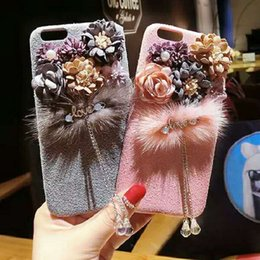 Wholesale Cover Flowers - Hand-made Luxury Beatiful Stereo Flower Case Tassel Pendant Drop Protection Defender Cover Back Phone Cases For iPhone X 8 7 6 6S plus