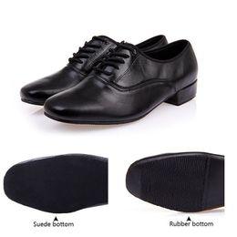 Wholesale black modern dance - Men's modern dance shoes Black Genuine Leather Rubber sole or soft outsole Ballroom dancing shoes 2.2cm low heel