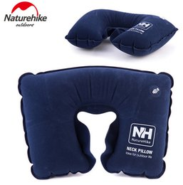 Wholesale Inflatable Weight - Wholesale- Naturehike Outdoor Travel Inflatable Pillow U Type Super Light Weight Neck Protecting Flocking Fabric Camping Noon Break