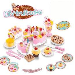 Wholesale Toys Tea Set - 75Pcs Kitchen Toys Pretend Play Cutting Birthday Cake Food Toy Kitchen For Children Cocina De Juguete Plastic Play Food Tea Set